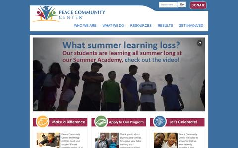 Screenshot of Home Page peacecommunitycenter.org - Peace Community Center | Bright futures, built together | Peace Community Center - captured Sept. 29, 2014