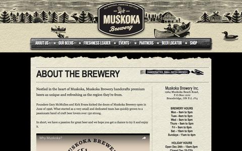 Screenshot of About Page Hours Page muskokabrewery.com - Muskoka Brewery | The Brewery - captured Nov. 30, 2016