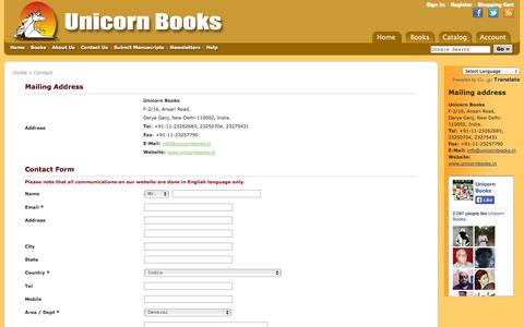 Screenshot of Contact Page unicornbooks.in - Contact us | Unicorn Books - captured Oct. 7, 2014