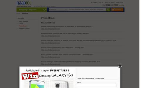 Screenshot of Press Page naaptol.com - Naaptol Press Room, Media & More - captured Sept. 11, 2014