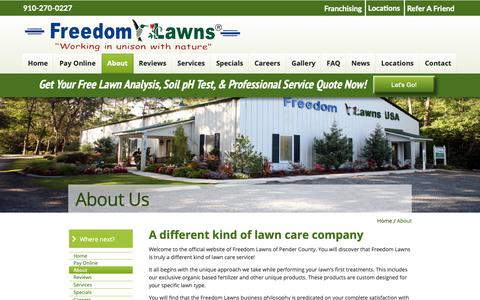 Screenshot of About Page freedomlawnsnc.com - Freedom Lawns of Pender - captured Oct. 11, 2018