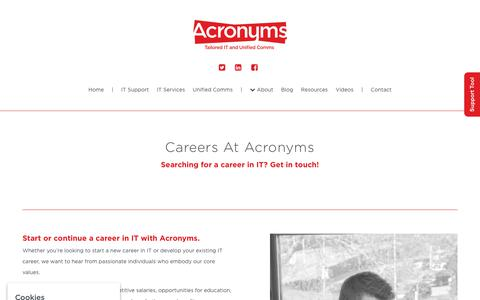 Screenshot of Jobs Page acronyms-it.co.uk - Start a career in IT with Acronyms | Acronyms IT Careers - captured Nov. 12, 2018