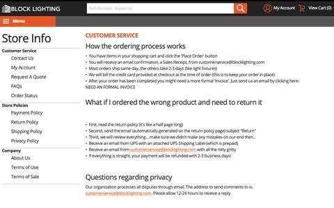 Screenshot of Support Page blocklighting.com - Customer Service - captured Nov. 6, 2018