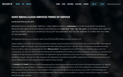 Screenshot of Terms Page sonymcs.com - Terms & Conditions | Sony Media Cloud Services - captured Sept. 24, 2014