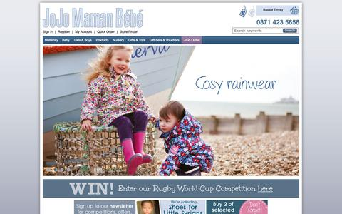 Screenshot of Home Page jojomamanbebe.co.uk - Maternity Clothes, Baby Clothes & Nursery Products | JoJo Maman Bebe - captured Oct. 1, 2015