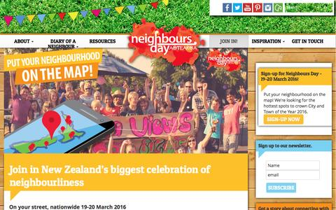 Screenshot of Signup Page neighboursday.org.nz - Join in New Zealand's biggest celebration of neighbourliness | Neighbours Day Aotearoa - captured Feb. 14, 2016
