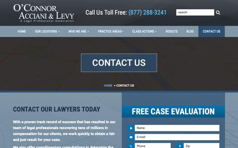 Screenshot of Contact Page oal-law.com - Contact O'Connor, Acciani & Levy - captured Nov. 15, 2018