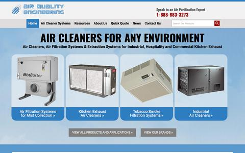 Screenshot of Home Page air-quality-eng.com - Air Filtration Systems & Air Cleaners: Industrial & Commercial Air Cleaners - captured Oct. 7, 2017