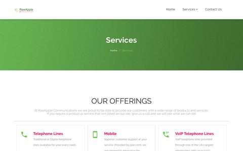 Screenshot of Services Page rawapple.co.uk - Services - RawApple Communications Ltd - captured Oct. 20, 2018
