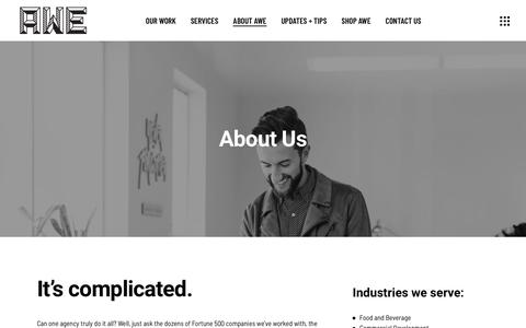 Screenshot of About Page awecollective.com - About Us • AWE Collective - captured Nov. 6, 2018