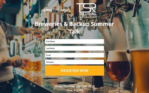 Screenshot of Landing Page unitrends.com - Breweries & Backup Summer Talk - captured Sept. 18, 2018