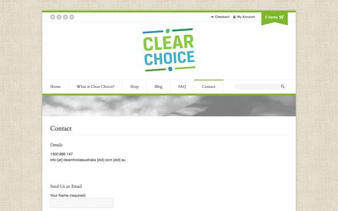 Screenshot of Contact Page natural-spa-chemicals.com - Contact - Clear Choice Australia - captured July 18, 2018