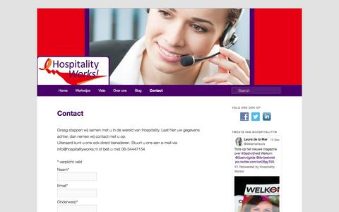 Screenshot of Contact Page hospitalityworks.nl - Gastvrijheid loont: Hospitality Works! - captured Sept. 30, 2014