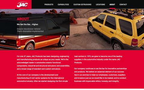 Screenshot of About Page jacproducts.com - About | JAC Products - captured Sept. 30, 2014