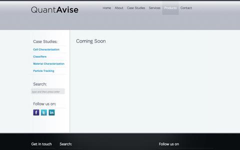 Screenshot of Products Page quantavise.com - Products  | QuantAvise - captured Sept. 26, 2014