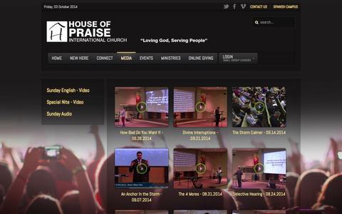 Screenshot of Press Page hopchurch.org - Media - captured Oct. 3, 2014