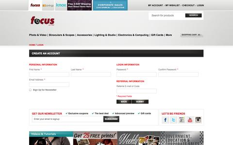 Screenshot of Signup Page focuscamera.com - Create New Customer Account  | Focus Camera - captured Sept. 19, 2014