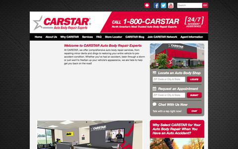 Screenshot of Services Page carstar.com - CARSTAR Auto Body Repair Experts provides complete collision repair services at more    than 410 auto body shops across North America. - captured Oct. 1, 2014