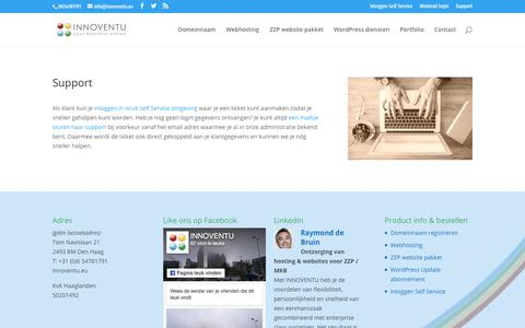 Screenshot of Support Page innoventu.eu - WordPress support - captured July 26, 2018