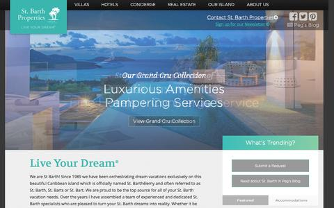 Screenshot of Home Page stbarth.com - Welcome - St. Barth Properties Inc. - captured Jan. 26, 2015