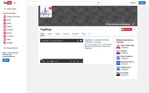 Screenshot of YouTube Page youtube.com - YogaBugs  - YouTube - captured Oct. 26, 2014