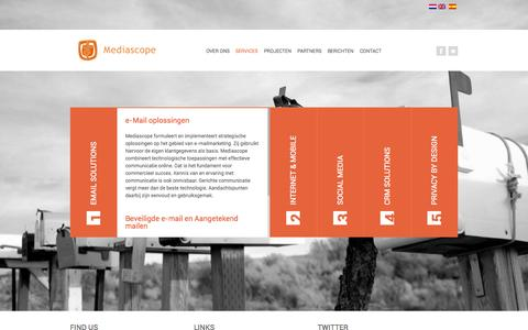 Screenshot of Services Page mediascope.nl - Mediascope : Services - captured Oct. 27, 2014