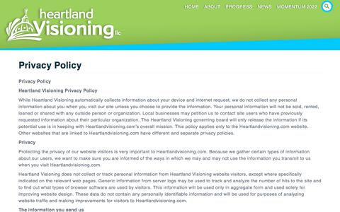 Screenshot of Privacy Page heartlandvisioning.com - Privacy Policy - Heartland Visioning of Topeka and Shawnee County - captured July 18, 2018