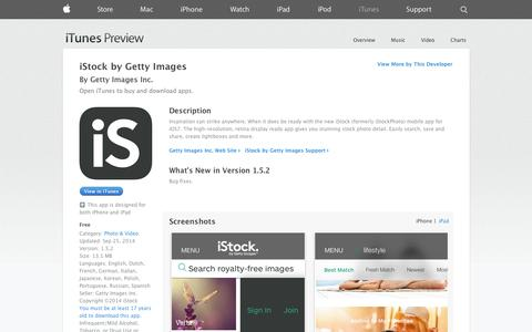 Screenshot of iOS App Page apple.com - iStock by Getty Images on the App Store on iTunes - captured Oct. 23, 2014