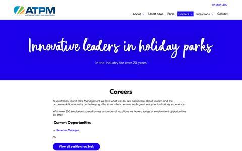Screenshot of Jobs Page atpm.com.au - Careers   Australian Tourist Park Management - captured Nov. 13, 2018