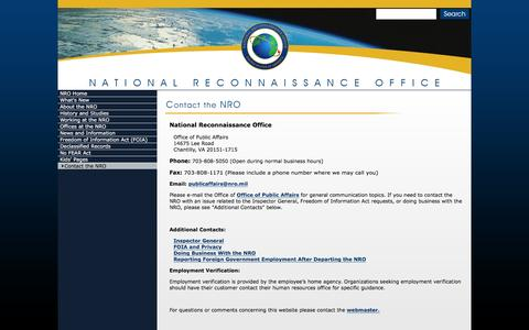 Screenshot of Contact Page nro.gov - NRO - Contact the NRO - captured March 2, 2016