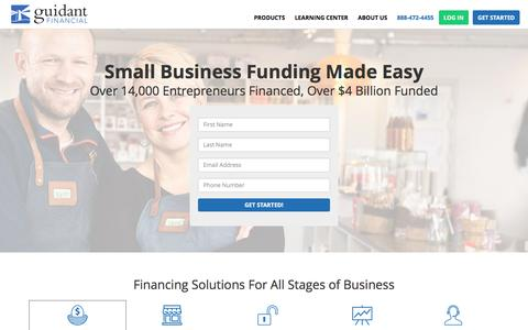 Screenshot of Home Page guidantfinancial.com - Guidant Financial | Small Business Funding Made Easy - captured April 17, 2017