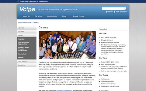 Screenshot of Jobs Page dot.gov - Careers | Volpe - The National Transportation Systems Center - captured Oct. 26, 2014