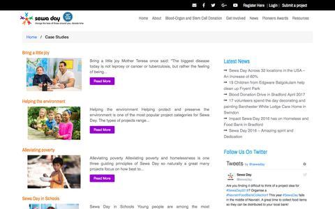 Screenshot of Case Studies Page sewaday.org - Case Studies – sewa day - captured Sept. 20, 2018