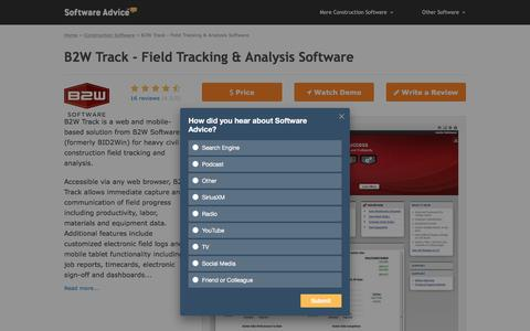 B2W Track Software - 2018 Reviews, Free Demo & Pricing