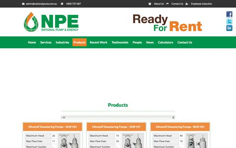 Screenshot of Products Page nationalpump.com.au - Products - National Pump & Energy - captured Oct. 18, 2018