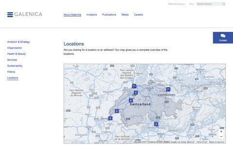 Screenshot of Locations Page galenica.com - Locations - Galenica.com - captured July 14, 2017