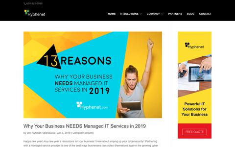 Screenshot of Blog hyphenet.com - San Diego IT Technology Blog - captured May 10, 2019