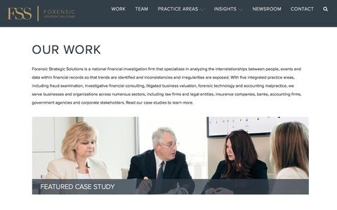 Screenshot of Case Studies Page forensicstrategic.com - Work - FSS - captured Oct. 14, 2017
