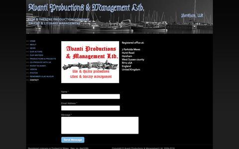 Screenshot of Contact Page avantiproductions.co.uk - Avanti Productions & Management - CONTACT - captured Nov. 25, 2018