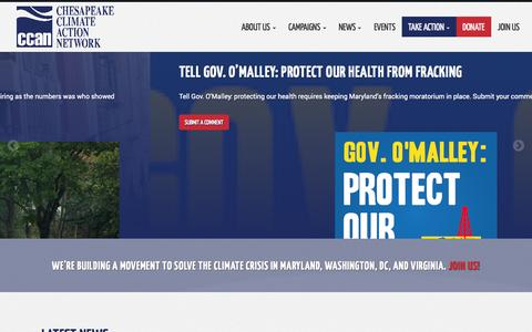 Screenshot of Home Page chesapeakeclimate.org - Chesapeake Climate Action Network - captured Oct. 2, 2014