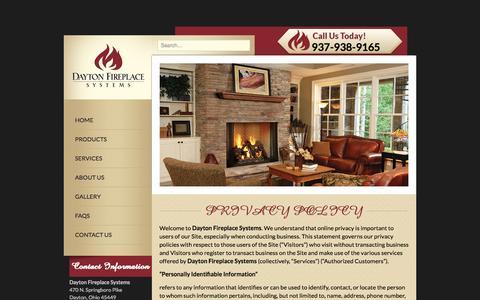 Screenshot of Privacy Page daytonfireplace.com - PRIVACY POLICY | Dayton Fireplace Systems - captured Nov. 1, 2014