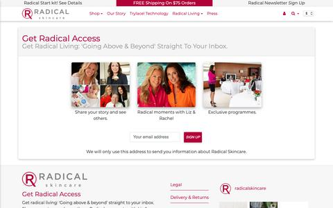 Screenshot of Signup Page radicalskincare.com - Get Radical Access - Radical Skincare - captured Oct. 5, 2018