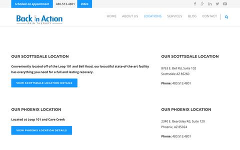 Screenshot of Locations Page biaofscottsdale.com - Locations: Back in Action Pain Management Clinics in Greater Phoenix - captured Dec. 18, 2018