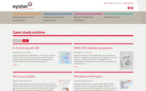 Screenshot of Case Studies Page oysterhc.co.uk - Case study archive « Oyster Healthcare Communications: Outstanding editorial content in a range of formats to create multi-media campaigns - captured Oct. 6, 2014