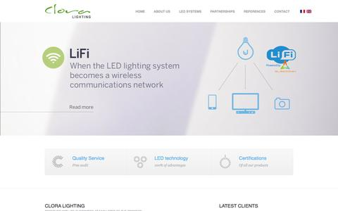 Screenshot of Home Page clora.ch - CLORA LED SYSTEMS - GENEVE, SUISSE - captured Oct. 7, 2014