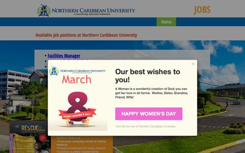 Screenshot of Jobs Page ncu.edu.jm - NCU Jobs | Home - captured March 9, 2018