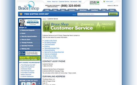 Screenshot of Support Page braceshop.com - Customer Service - captured Sept. 24, 2014