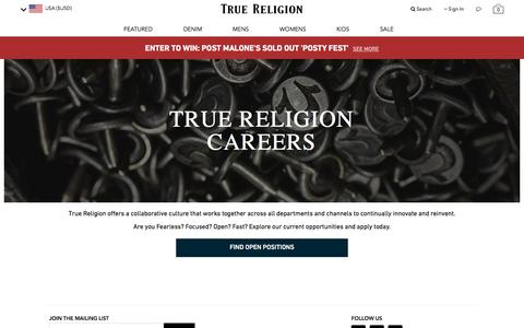 Screenshot of Jobs Page truereligion.com - Careers at True Religion - captured Sept. 24, 2018