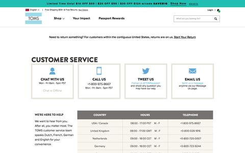Screenshot of Support Page toms.com - Customer Service Contact Information | TOMS® - captured Aug. 21, 2019