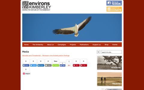 Screenshot of Press Page environskimberley.org.au - Environs Kimberley :: Saving the nature of the Kimberley - captured April 12, 2017